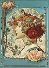 Fashion Beautiful Lady Girl Face Flowers Roses Vintage Poster Repro FREE S/H