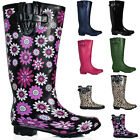 NEW WOMENS FLAT WELLIES WELLINGTON WIDE CALF KNEE HIGH BOOTS US 5-10