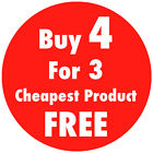 Red 'Buy 4 For 3' Promotional Price Stickers Sticky Labels 4 Sizes Available