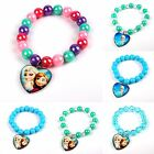 Kids XMAS GIFT Disney Frozen Elsa Anna Charm Beads Bracelet Heart Pendant Bangle