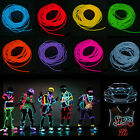3M/5M Flash Flexible Neon Light Glow EL Strip Tube Wire Rope + Battery Case
