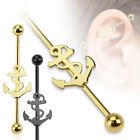 New 14g Novelty Sailor Ship Anchor Industrial Scaffold Bar Gold Black 38mm