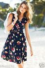 Next Women`s Floral Print Dress Size 12 Navy