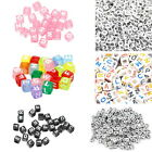500PCS Mixed Cube Acrylic Letter/Alphabet A-Z Beads Colorful Jewelry Making