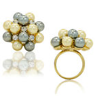Gold Filled 18k Flower CZ Crystal Gray Off White Pearl Special Occasion Ring