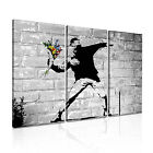 BANKSY Flower Thrower 1 Canvas 3A Framed Printed Wall Art ~ 3 Panels