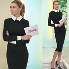 Vintage Office Lady Long Sleeve Wear To Work Pinup Party Pencil Stretch Dress ++