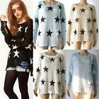 Women Star Loose Hollow Hole Distressed Frayed Pullover Jumper Knitwear Sweater