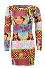 Women's Doll Long Sleeve Stretch Multi Colour Print Ladies Bodycon Dress