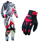 Thor Flux Shred Gray Red Jersey Pants with Deflector Red Gloves Dirt Bike Gear