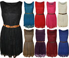 New Womens Lace Lined Belted Ladies Sleeveless Short Mini Dress Top 8-14