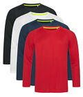 Mens ACTIVE-DRY Breathable Polyester Long Sleeve Sports T-Shirt Tshirt