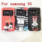 3D Cartoon Minnie Mickey Stand Leather Cover Case For Samsung Galaxy S5 i9600