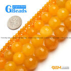 "Round Faceted Yellow Jade Beads Strand 15"" Jewelry Making 4mm 6mm 12mm 14mm 16m"