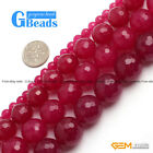 """Round Faceted Plum Jade Beads Strand 15"""" Jewelry Making Loose Beads Pick Size"""