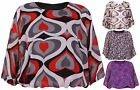 Womens Floral Printed Ladies Elastic Batwing Sleeve Lined Chiffon Top Plus Size