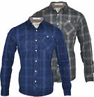 Mens Crosshatch Check 100% Cotton Casual Dress Shirt Long Sleeve Chest Pocket