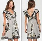 Hale Bob Dress Silk Crepe Summer Size XS 0 2 4 NWT South Border Neutral Sundress