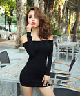 Sexy New Lady Off Shoulder Mini Dress Cocktail Stretch Bodycon Long Tops 6 8 10