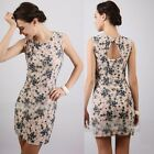 New Cut-out Sleeveless Floral Women Fitted Mini Dress Sundress Clubwear Stretch