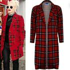 Women's Check Side Split Duster Jacket Ladies Tartan Boyfriend Long Blazer