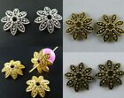 70 Silver/Gold/Bronze Color Flower Bead Caps 14.5x4mm B39 1029