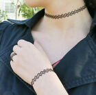 Hot Black Tattoo Choker Stretch Necklace Bracelet Ring Set Elastic Chocker Henna