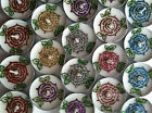 BN Set of 6 Unscented White Tea Lights with Henna & Colour Glitter Rose Designs
