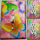 PINK BUTTERFLIES LIGHT SWITCH OUTLET WALL PLATE COVERS CUSTOM KIDS BATH ROOM