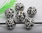 white leopard stripe wood round loose beads 16MM 20MM diy findings