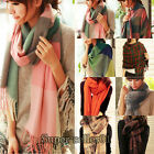 Woman's Fashion Autumn Winter Wool Shawl Collar Grid Long Scarf Neck Warmer