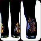 Plus Size Capri Leggings Embellished Rhinestone & Stud Festive Tropical Birds