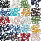 Big European Faceted Glass Round Rondelle Bead With Large Silver Grommet Hole
