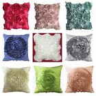 Polyester Taffeta Rose Couch Cushion Cover Home Decor Throw Pillow Case 2 Style