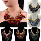 Fashion Gold Chain Multicolor Resin Drop Tassels Statement Choker Bib Necklace