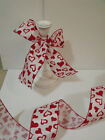 Romantique Red Flock Velvet Love Hearts Organza - Luxury Wire Edged Ribbon