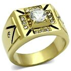 Southwest Inspired Stainless Steel Gold IP Men's CZ Wedding Band Ring Sizes 8-13