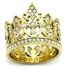 Gold IP Stainless Steel Queen Royalty Crown Crystal Filigree Ring - Sizes 5-10