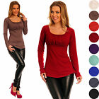 Glamour Empire Women's Stretchy Pleated Scoop Neck Long Sleeve Jersey Top 076