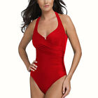 One Piece Halter Beach Swimsuit Swimwear Bather with Optional Skirt Red