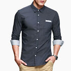 DISCOUNT  Cotton Casual Shirts Tops Mens Slim Fit Button Down Shirts Retro Style