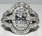 EGL Certified Diamond Engagement Ring 2.10 Carat Oval Shape Antique Halo Style
