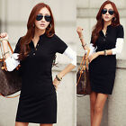 Korean Fashion Fall Women Ladies Long Sleeve V Neck Splice Casual Dress Buttons