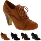 Womens Mary Jane Brogue Lace Up Ankle Boot Cuban Heels Work Office Shoes UK 3-9