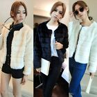 Korean Sweet Women Girl Winter Jacket Coat Top-Cropped Full Faux Fur Solid