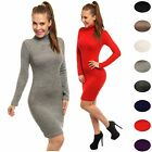 Glamour Empire Women's Stretch Knitted Dress Polo Neck Long Sleeve 888