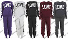 LADIES LOVE PRINT TRACKSUIT JOGGERS TOP WOMENS GYM SWEATSHIRT BOTTOMS SIZE 8-14