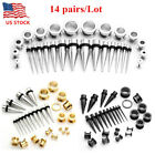 28Pc Gauges Steel Ear Tapers + Screwed Tunnels Plugs Expander Stretching Kit Set