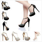 Womens Shoes Rhinestone Open Toe Ankle Strap Sandals High Heels Fashion