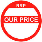 Blank Red Our Price Point Stickers / Sticky Swing Tag Labels 20mm to 45mm
